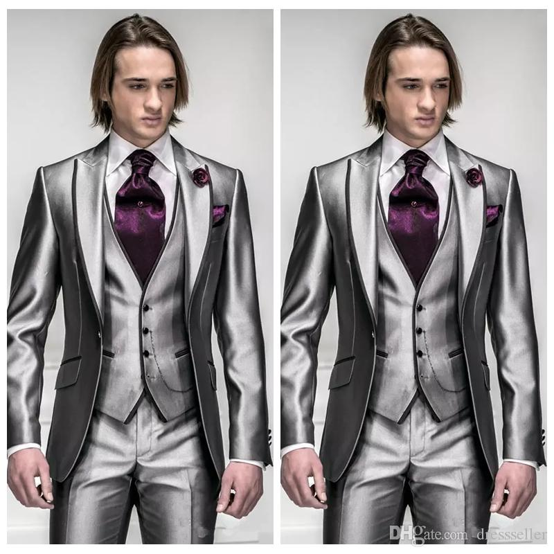 2018 Custom Silver Wedding Men Tuxedos Slim Fit Bridegroom Suit For Men Three Piece Groomsmen Suit Cheap Formal Business Jackets With Bow