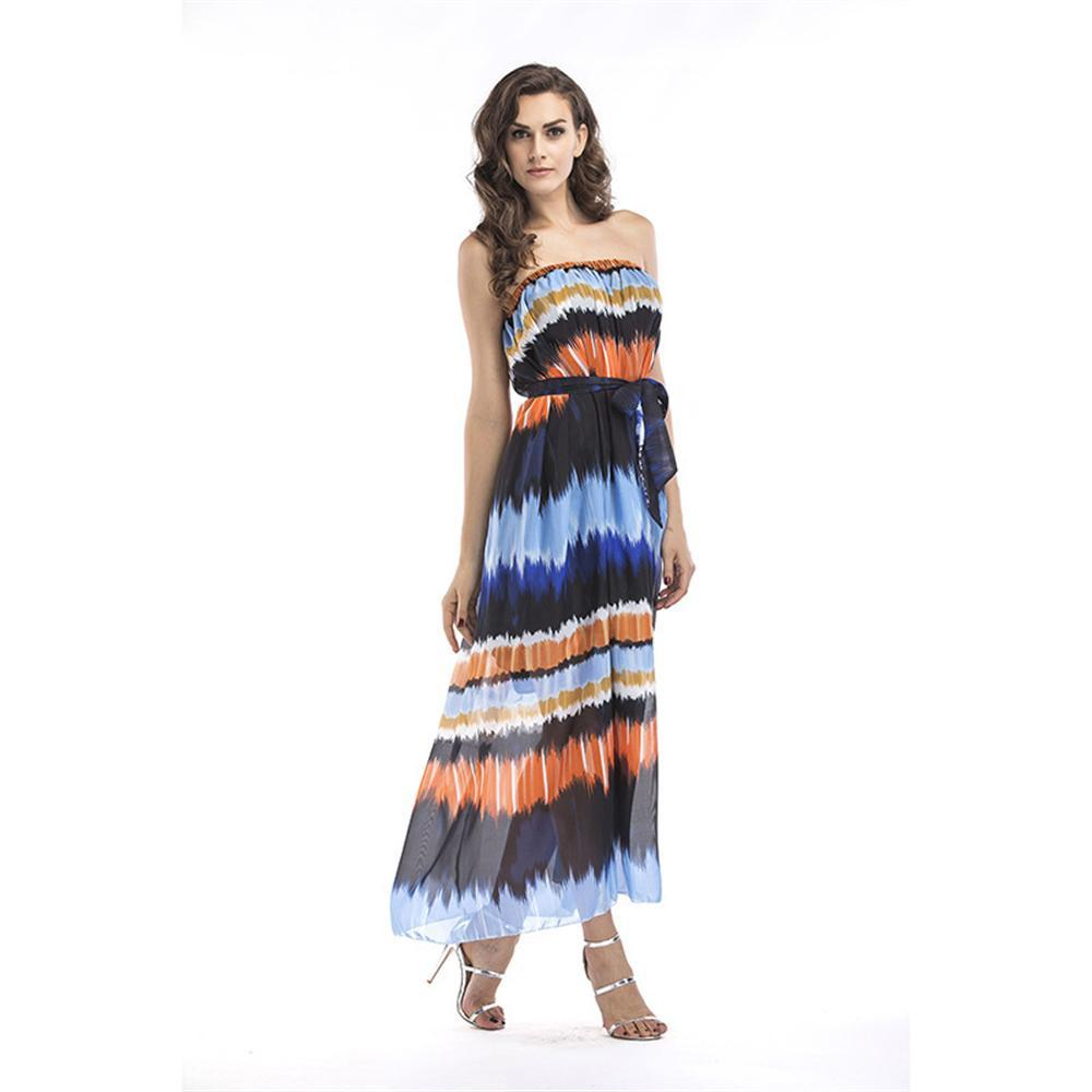 Summer chiffon elegant wrapped Plus Size gradient color prom beach women  dress Beach Boho Maxi Dress Long Dresses Feminine