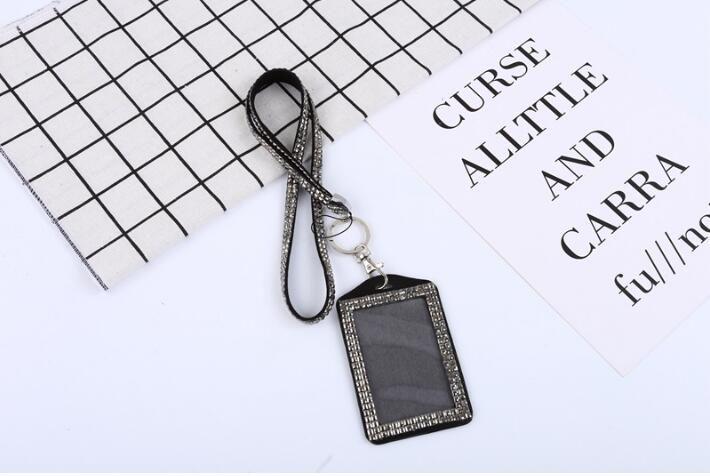 Toptan elmas Rhinestone Kordon Kristal Bling Özel Kordon KIMLIK Rozeti Cep Telefonu w Anahtar Tutucu Yüzük