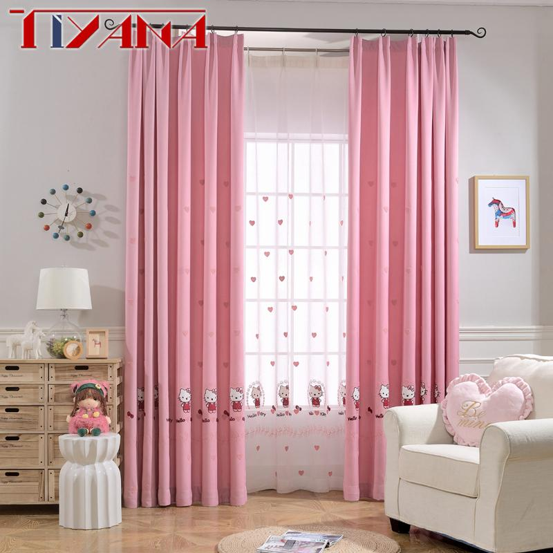2018 pink princess cartoon cat curtains for living room children blackout customized finished curtains for baby girls bedroom wp2992 from homegarden - Cat Curtains