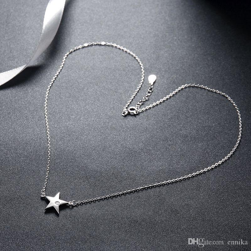 Sterling Silver 925 Necklace Lady Party Jewelry Pure Silver Big Star Zircon Pendant Necklace n088