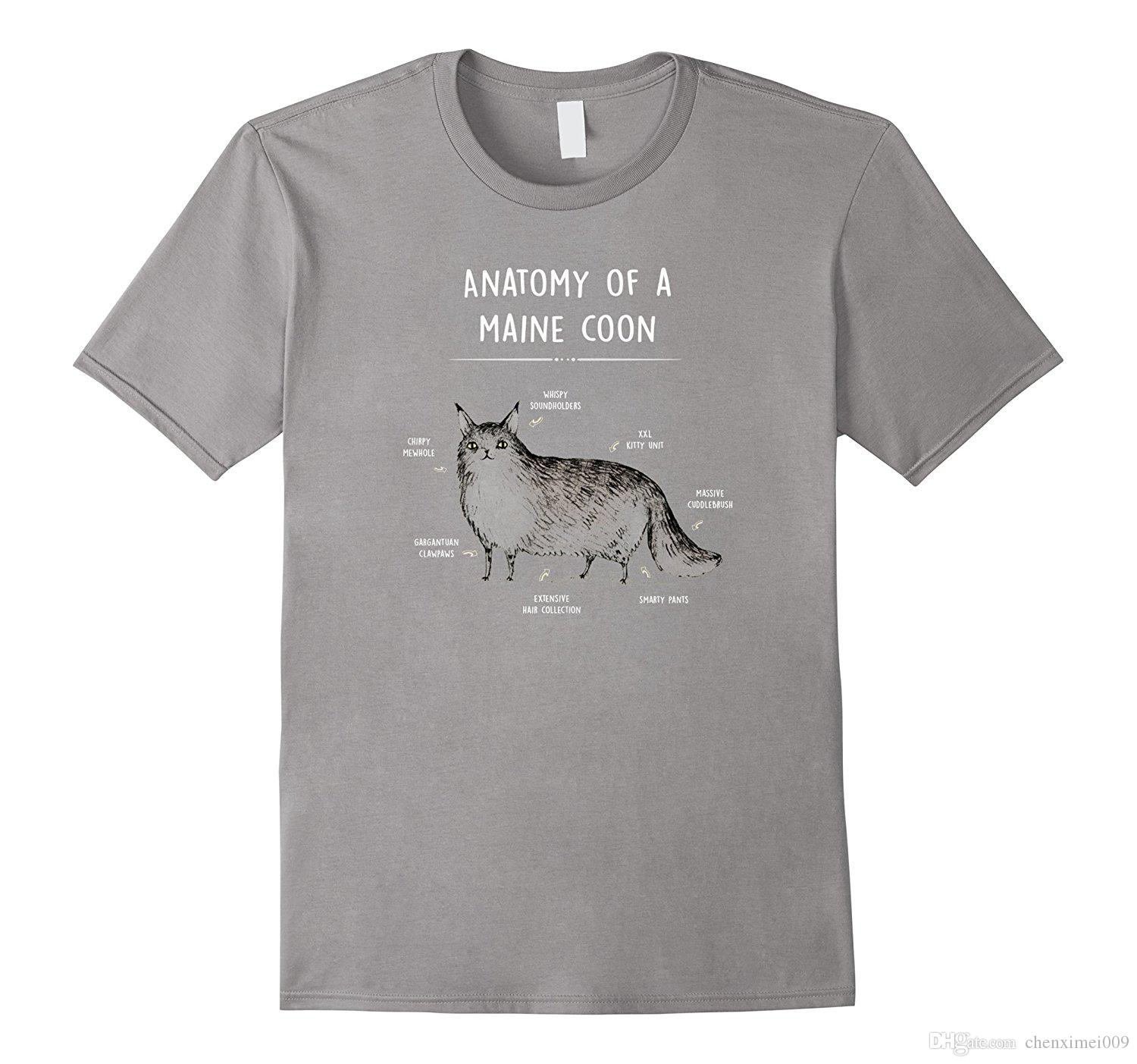 Anatomy Of A Maine Coon Cat Humor T Shirt Kitty Tee Cotton Shirts