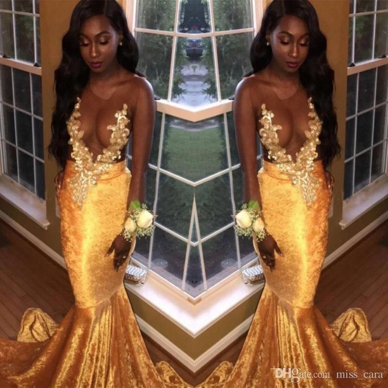 2018 Sexy See Through Velvet Black Girls Gold Prom Dresses Mermaid