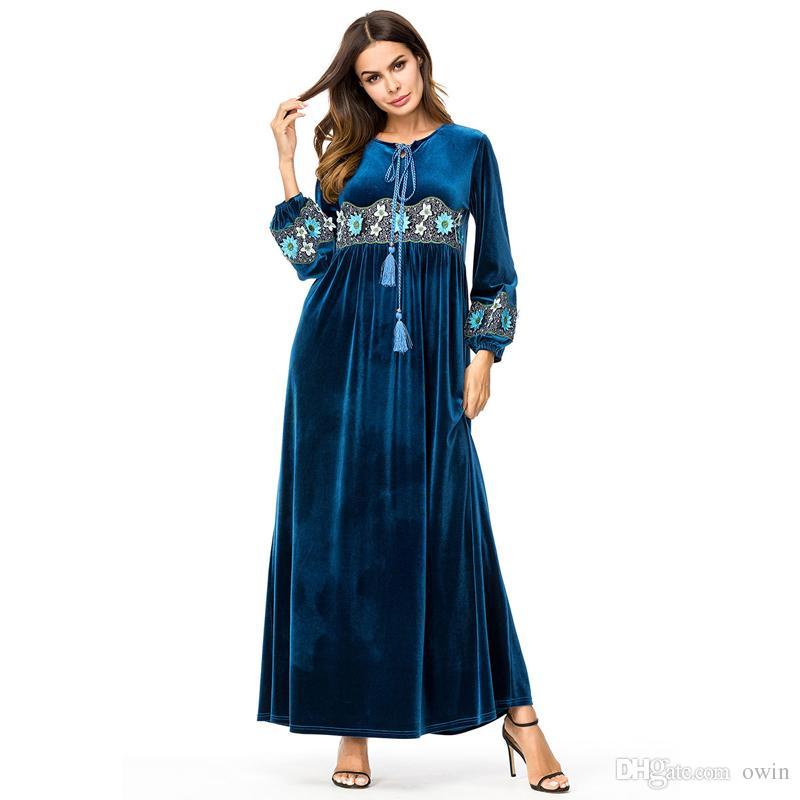 2ebf5666bd4 Muslim Dresses Plus Size 4XL Women Long Sleeve Velvet Flower Abaya New  Islamic High Waist Casual Winter Loose Dress Maxi Sundresses For Women Best  Dresses ...