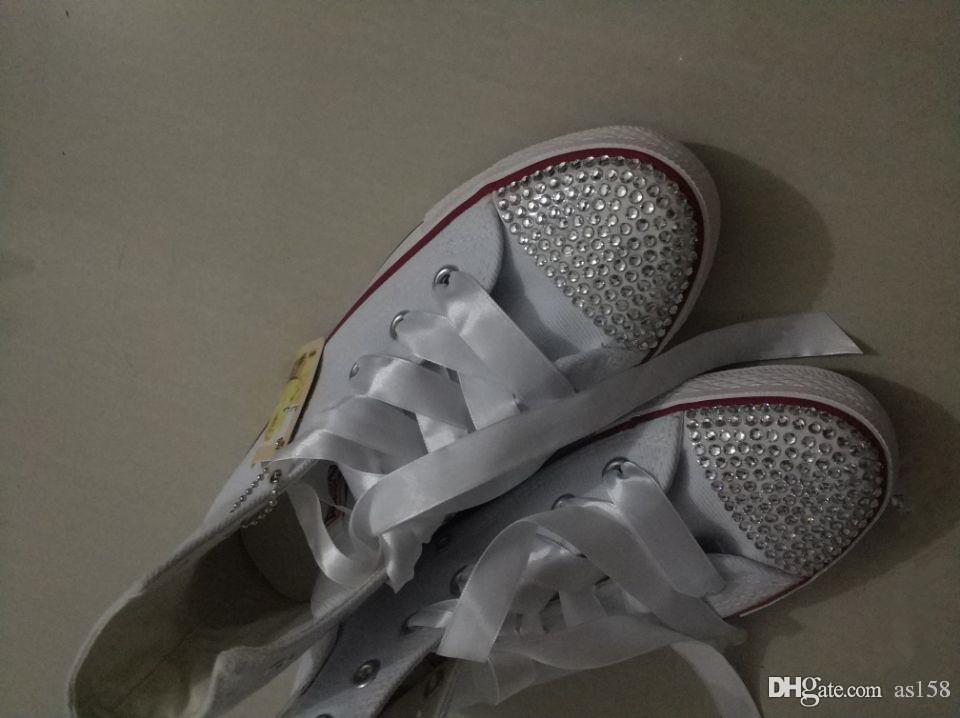 208 nuevos primavera caliente clásico blanco lienzo cordones altos para ayudar a las mujeres / hombres planos bricolaje zapatos moda estilo diamante chispa unisex todos los tamaños Sapatos