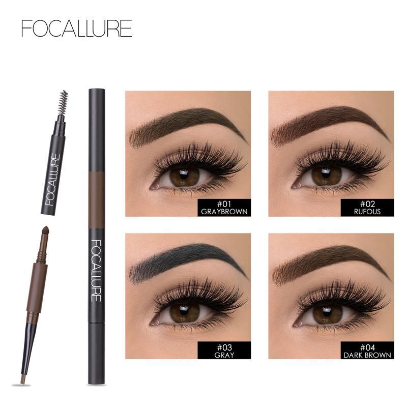 Focallure 2018 Waterproof Eyebrow Pencil 3 In 1 Auto Brow Pen Shades