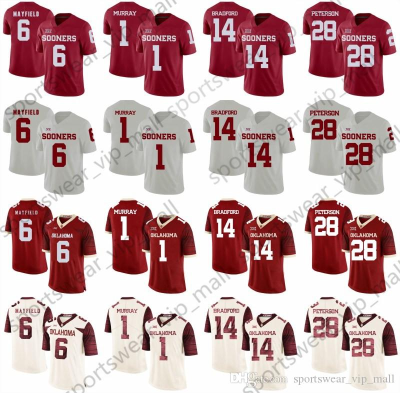 Men 2019 Oklahoma Sooners Jersey Kyler Murray  6 Baker Mayfield  14 ... a6b91caf7