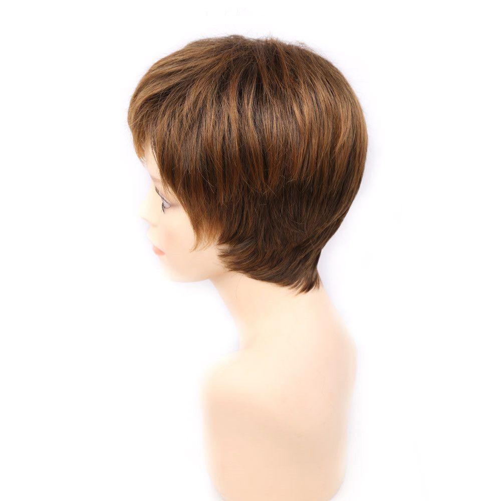 금발 짧은 여자 이발, 푹신한 곧은 pelucas pelo 자연 짧은 미국의 여성을위한 합성 머리 가발