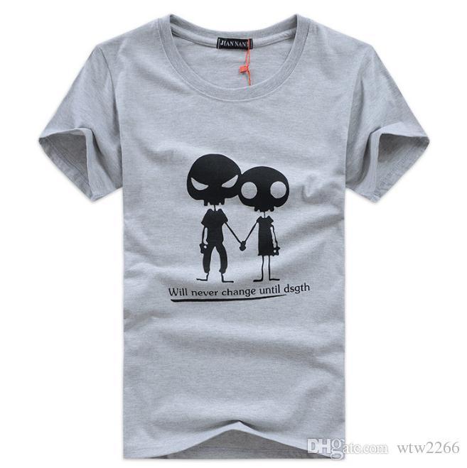 Homens jovens de manga curta t-shirt dos homens em torno do pescoço maré moda masculina carta impressão alienígena
