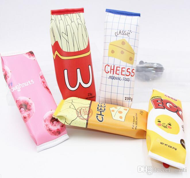 Popular Food packaging kawaii Macaron Cookie pencil case PU leather school pencil bag for girl stationery estojo escolar school supplies