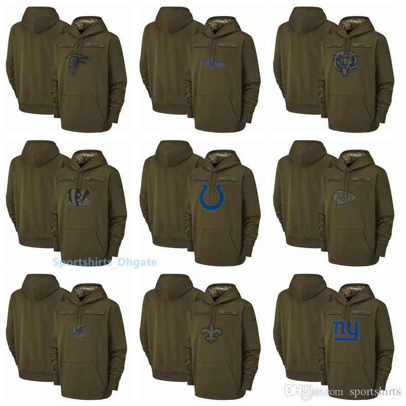 Men Atlanta Falcons Chicago Bears Indianapolis Colts New Orleans Saints  Salute To Service Sideline Therma Performance Pullover Hoodie UK 2019 From  ... 9844796a8