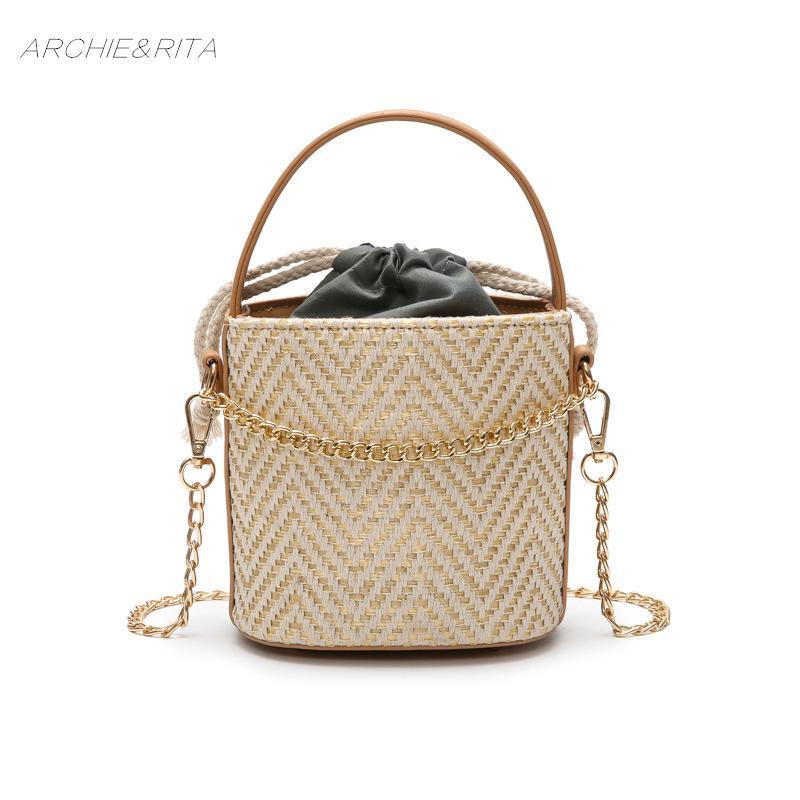 Beach Summer Bag Retro Women Bucket Handbags Drawstring Casual Holiday Woven Straw Shoulder Bags Women Handbags Laides Bag Clients First Shoulder Bags