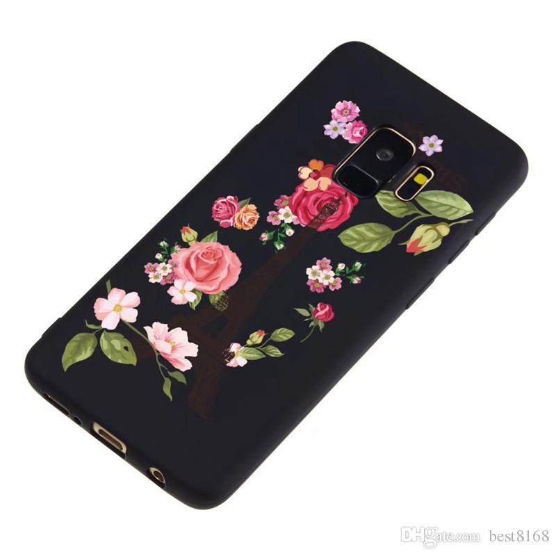 Iphone XS MAX XR X 8 7 6 Galaxy S9 A8 2018 Fiore Matte TPU morbido Custodia Lace Space Moon Cartoon Nero Fashion Cover Elegante telefono Skines