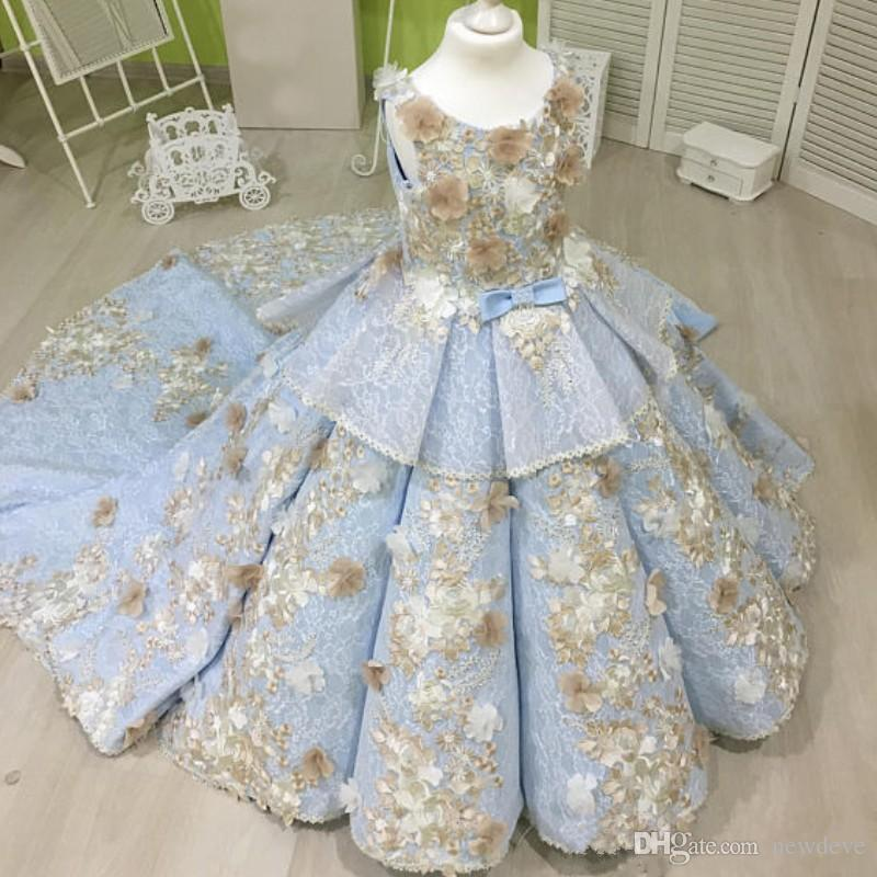 Sky Blue Ball Gown Girls Pageant Dresses With Champagne Flowers Lace Tiered Flower Girl Gowns For Wedding Sweep Train Kids Prom Dress
