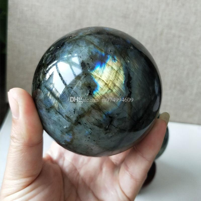 Natural pesado flash labradorite cristal reiki cura gemstone labradorite esfera de cristal como presente + stand