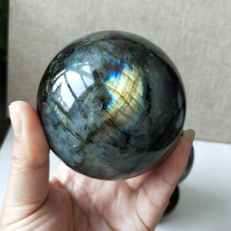 1 unids Natural pesado flash labradorita cristal reiki piedra preciosa curativa labradorita esfera de cristal como regalo + soporte