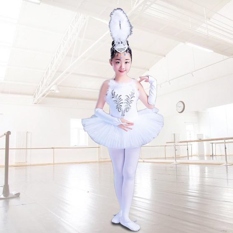 74c3a1494 2019 Girls Little Swan Dance Skirt Tutu Costume Children White ...