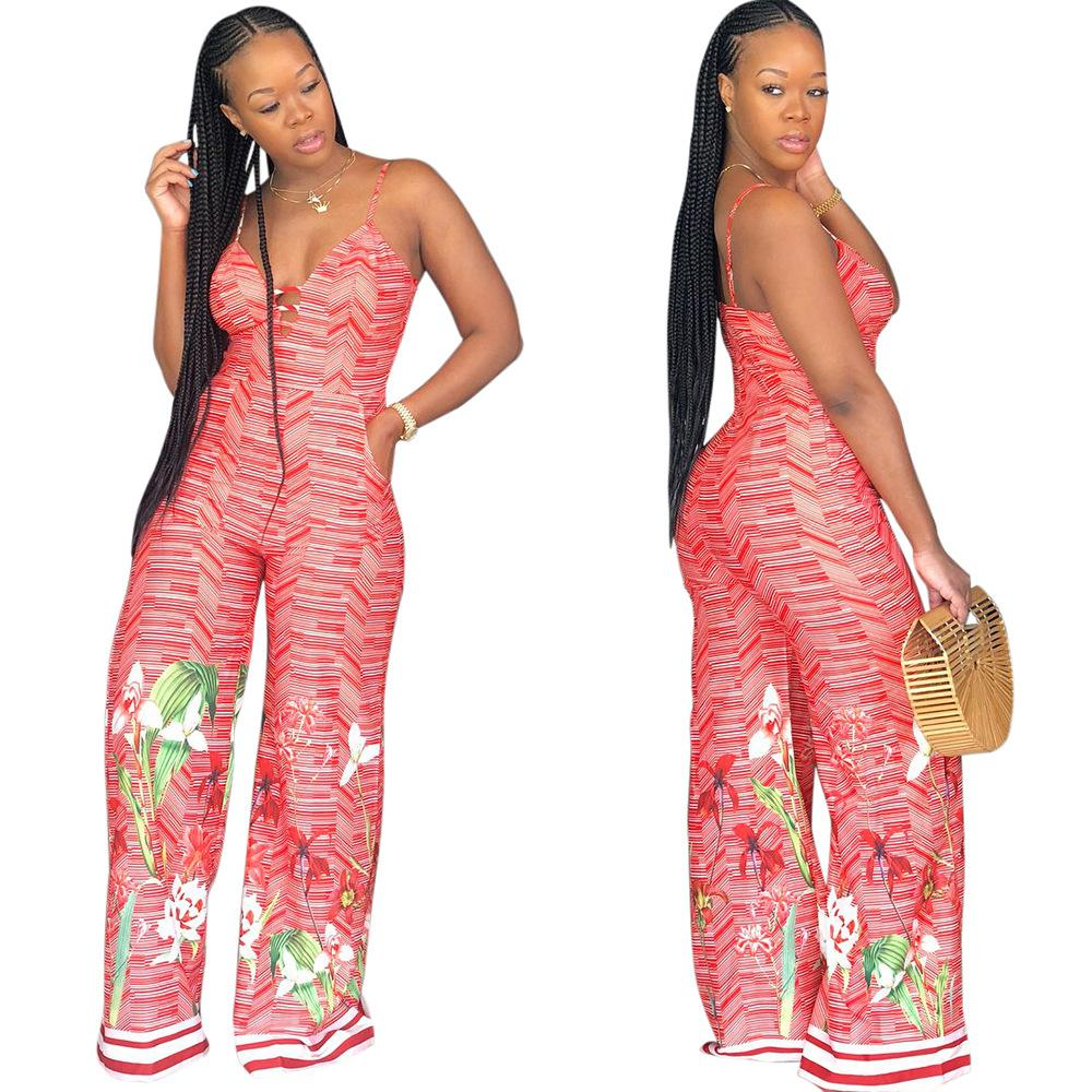 1fa7fd2ab1c5 2019 Women Strap Floral Jumpsuits Red Deep V Neck Backless Zipper Loose Wide  Leg Jumpsuit Adjustable Straps Club Party Jumpsuit Romper From Hengytrade