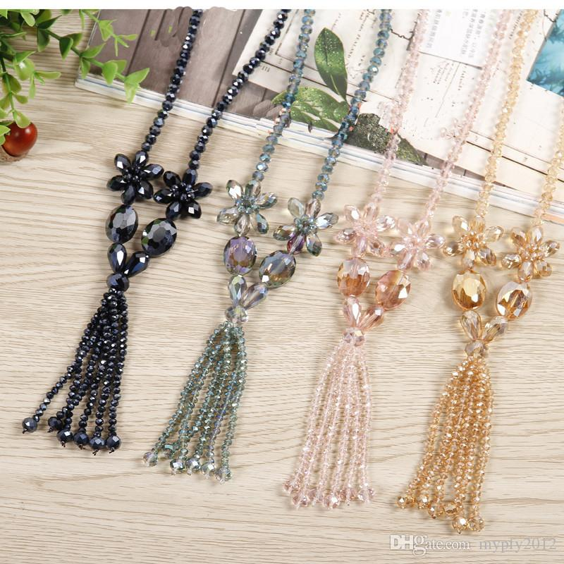 Fashion Long Necklace New Classic Crystal Flower Bib Tassel Necklaces Sweater Necklaces & Pendants Gift Mix Colors ZX