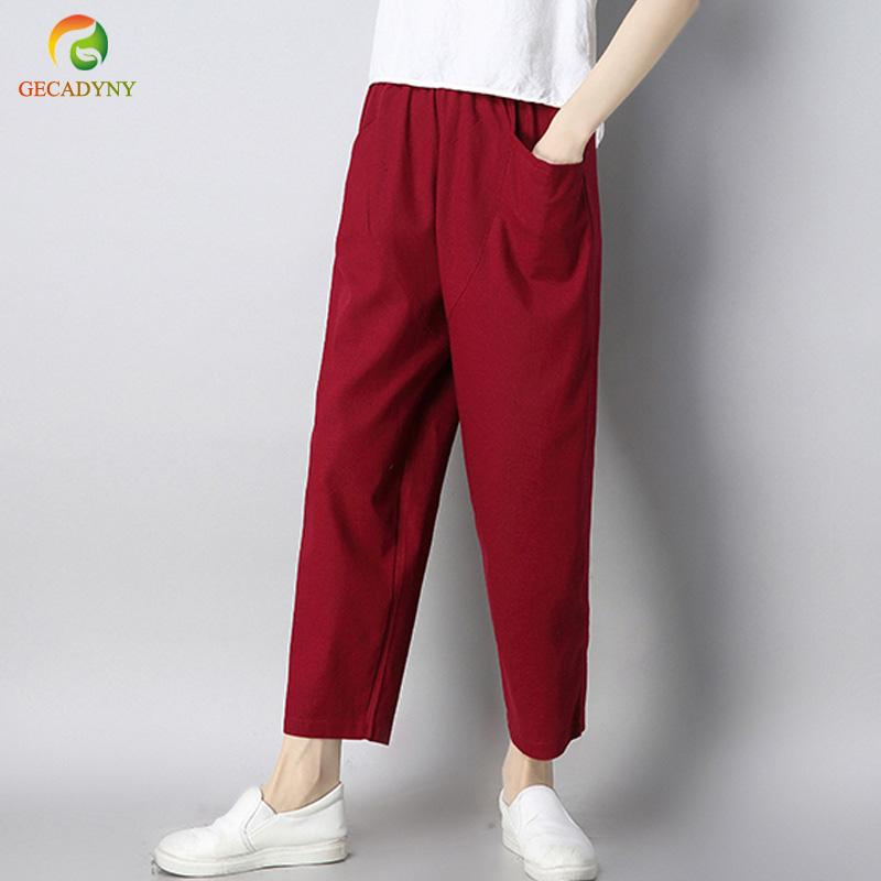 56a2d8708485c 2019 Plus Size Casual Loose Vintage Cotton Linen Harem Pants Trousers Women  Elastic High Waist Wide Leg Pants Pantalones Mujer M 3XL From Jingju