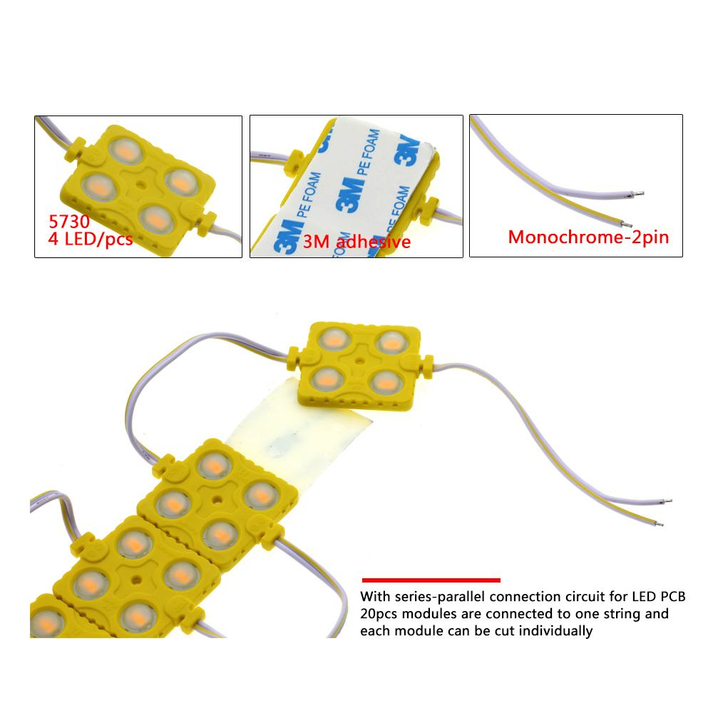 LED 모듈 5730 4LED DC12V 방수 사인 슈퍼 밝은 SMD Led 모듈 화이트 / 따뜻한 화이트 / 블루 / 레드 / 그린 /