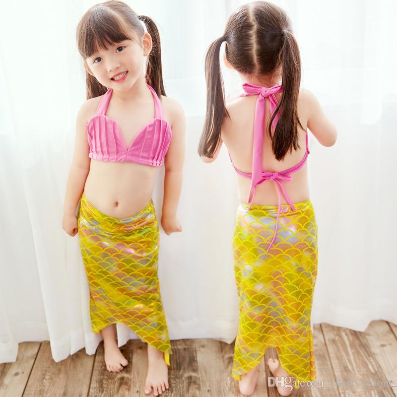 9972ce69ba36 Girls Kids Mermaid Tail Swimmable Bikini Set Swimwear Swimsuit Swim ...