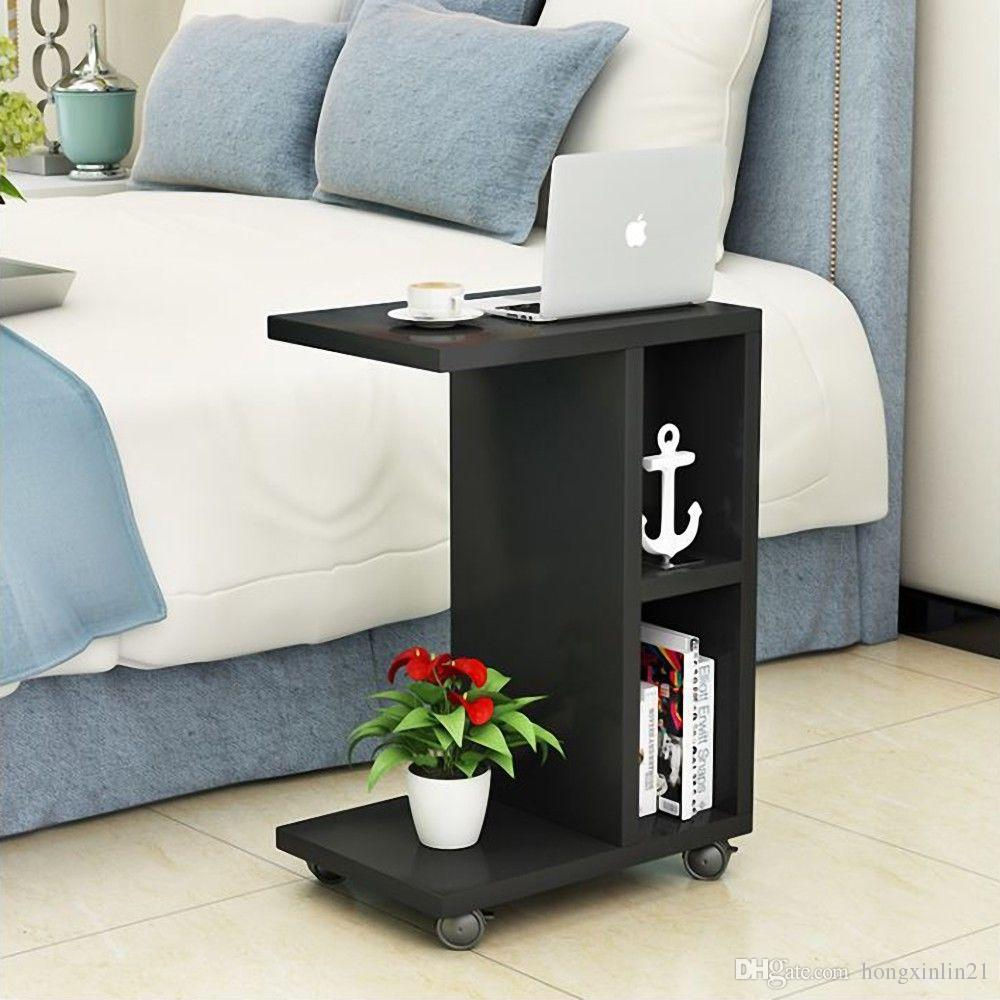 2018 New Rolling End Table With Storage Shelf Espresso Side Night Stand  Bedroom Black From Hongxinlin21, $29.44 | Dhgate.Com
