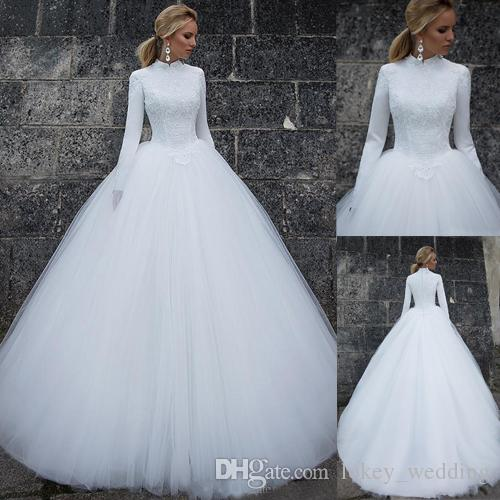 Discount Muslim Long Sleeves Wedding Dresses 2018 A Line High Collar ...