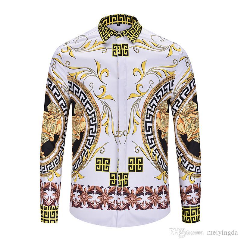 ea6954f9c newest designer luxury brand shirt 3D Print Mixture Colour casual harajuku  luxury stylish Design mens long sleeved shirts medusa shirt XXL