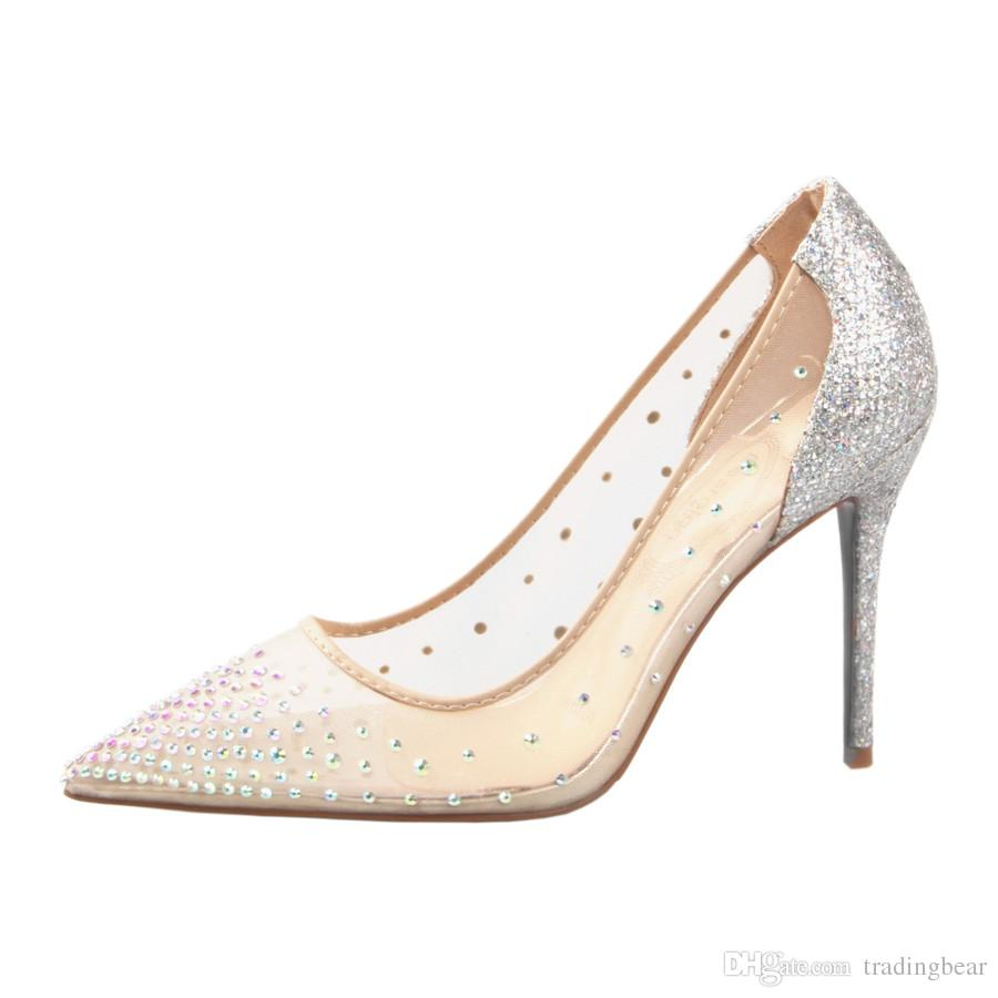 Sexy red bottom high heels nude meshy rhinestone wedding shoes with box and logo luxury designer shoes size 34 to 40