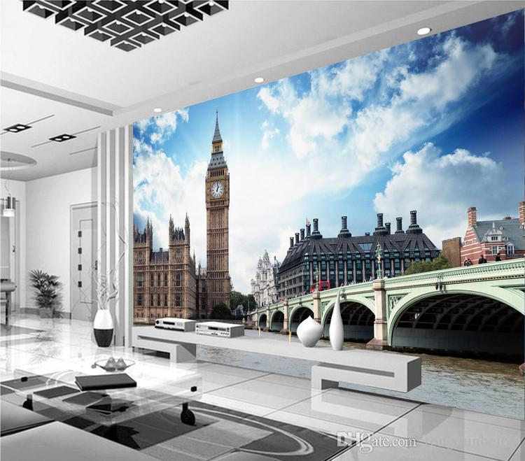Custom European Style City Landscape London Big Ben Mural Wallpaper 3D Room Landscape Hotel Restaurant Sitting Room Background