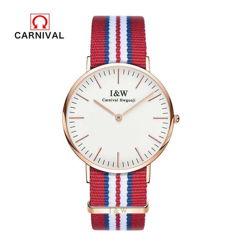 Carnival 2018 Women Watch Top  Waterproof Stainless Steel Quartz Wristwatches Blue And Red Nylon Cloth Strap Watches
