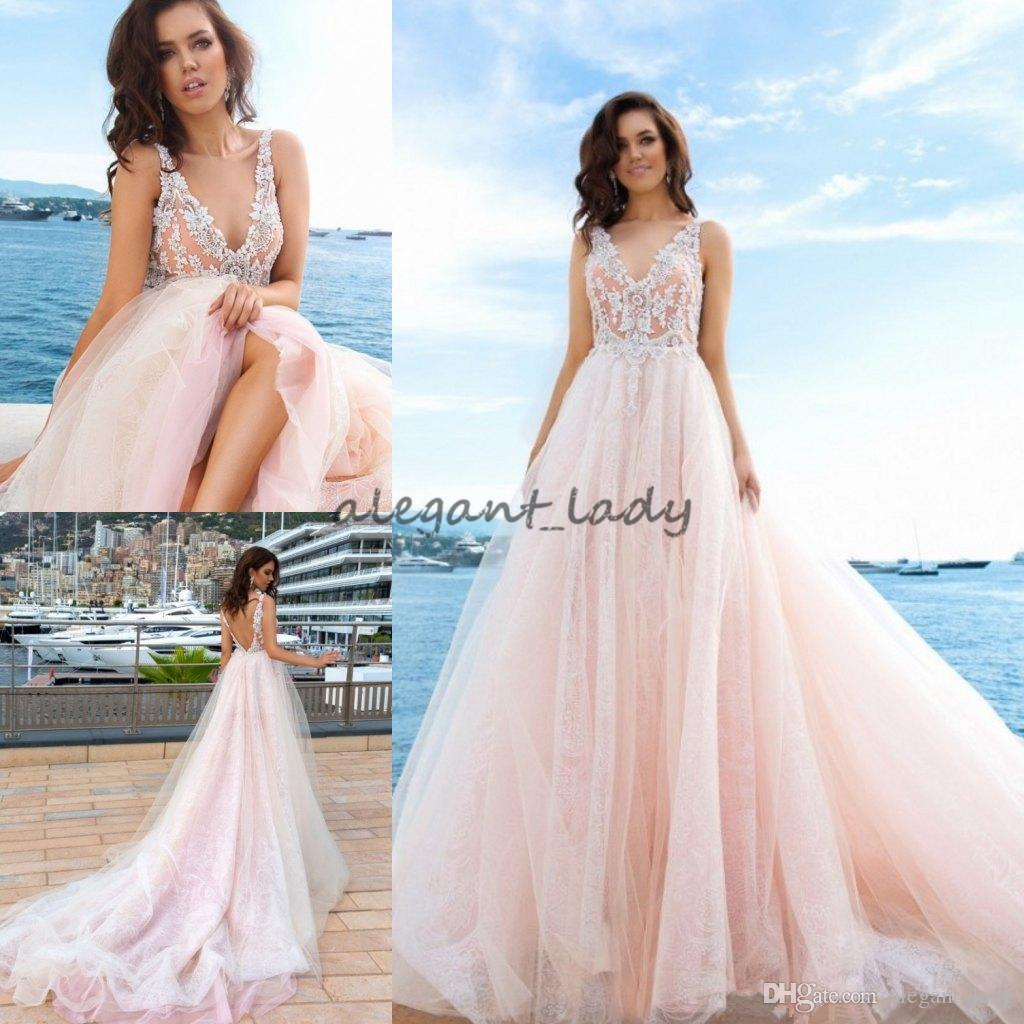 Discount Exquisite Blush Pink Beach Holiday Wedding Gowns High ...