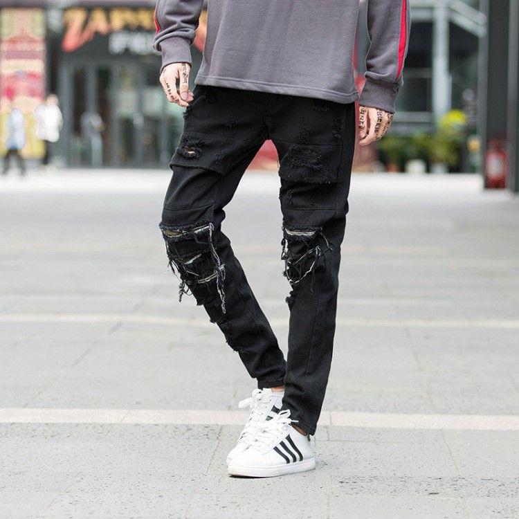 d815ab795 Hommes Desinger Ripped Jeans Noir Skinny Biker Jeans Homme Denim Crayon  Pantalon Streetwear Zipper Pocket Hip Hop Jean Hommes Vêtements ML687