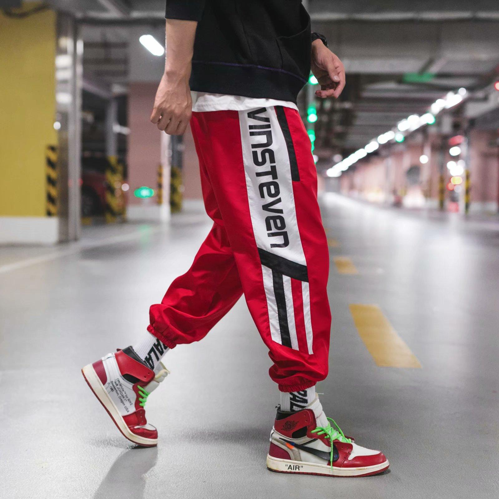 80a672f605c8 Full Length Pants Side Striped Hip Hop Letter Printing Loose Trousers  Joggers Highstreet  ON-FOOT LOOK AIR JORDAN ...
