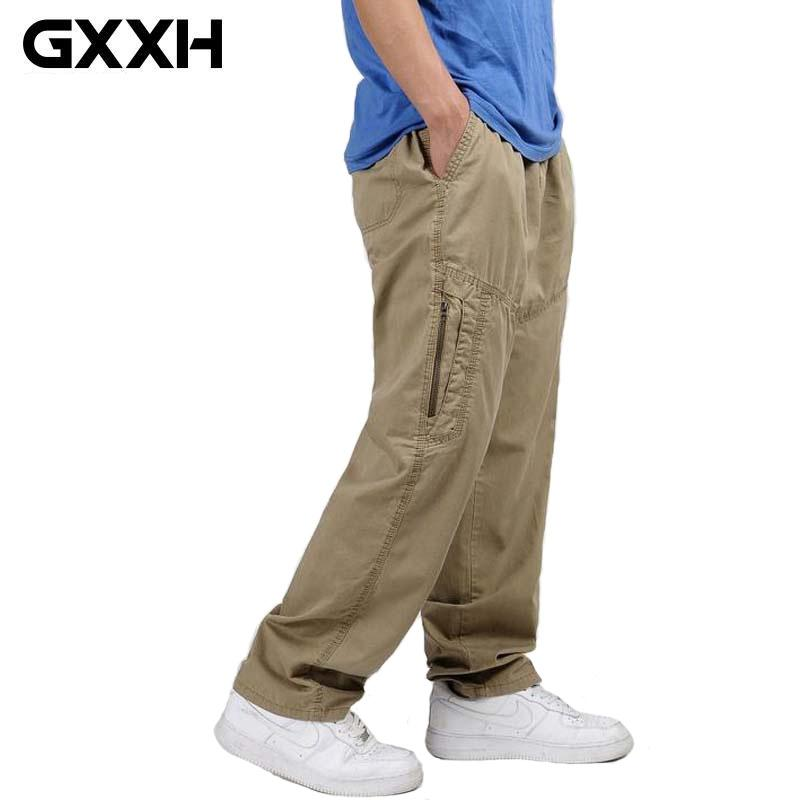 f857d7308c5 Wholesale Spring Summer Plus Size Large Men Cargo Pants Cotton Loose Baggy Trousers  Male Big Tall Elastic Waist Pant Xxxxl 3XL 4XL 5XL 6XL UK 2019 From ...