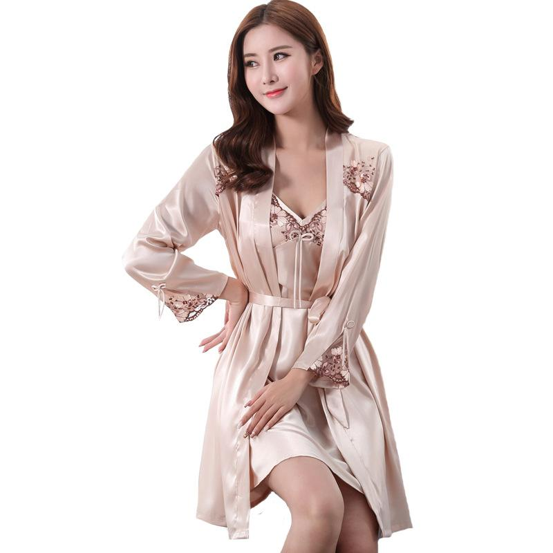 2019 Summer New Lady Chinese Bride Wedding Pajamas Suit Solid Flower  Nightgown Sexy Women Sleepwear Suit Silky Nightwear From Yuhuicuo 095539c03