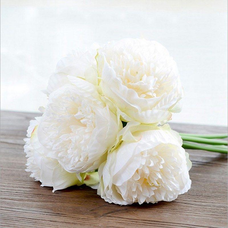 실크 꽃 결혼식 꽃다발 모란 달리아 인공 꽃 가을 생생한 가짜 결혼 꽃 신부의 꽃다발 장식 가을