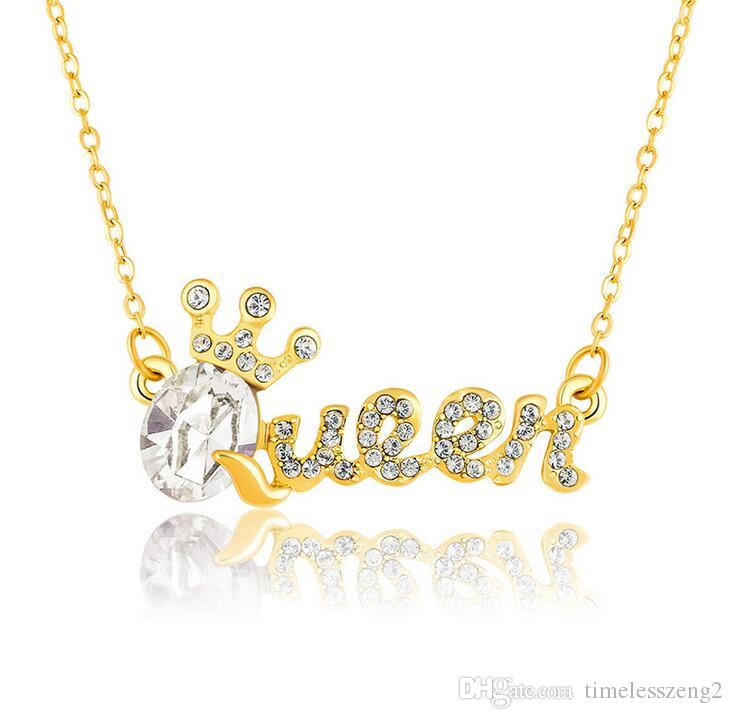 크리스탈 다이아몬드 쇄골 체인 패션 액세서리 생일 좋은 선물 무료 배송 10 컬러 우아한 퀸 펜던트 목걸이