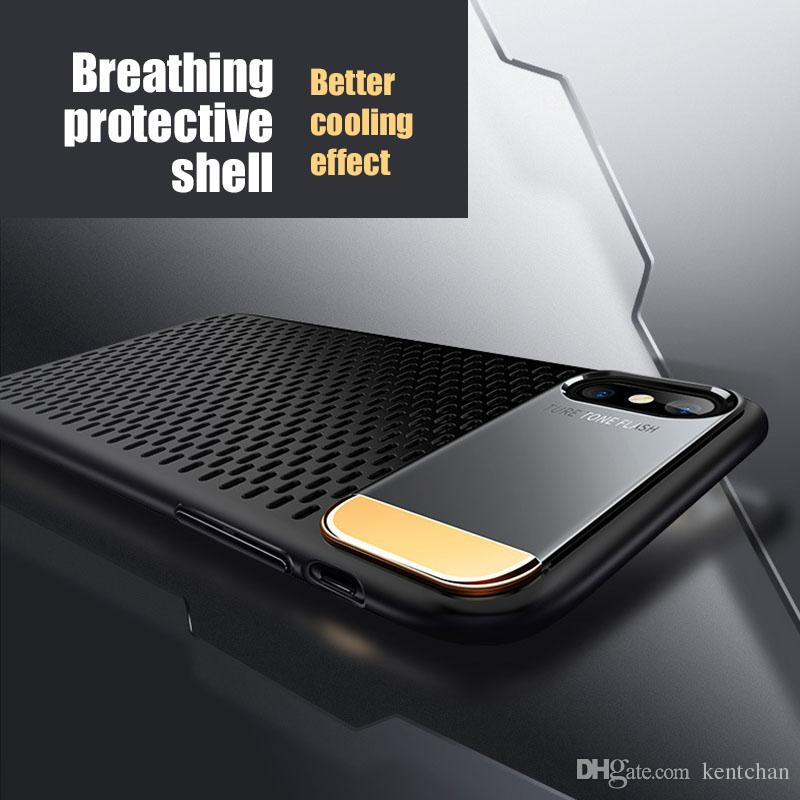 Hidden Kick Stand Holder Case For iPhone 7 8 7p 8p X Case Mesh Heat dissipation TPU PC Shockproof Back Cover