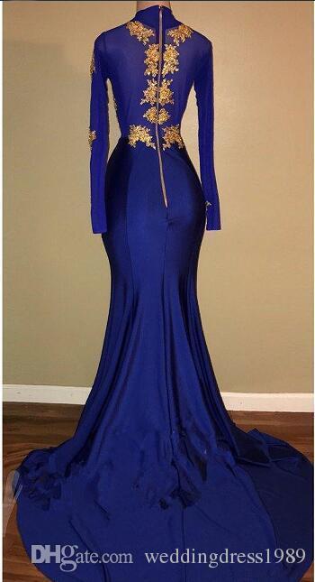 Sexy Split Mermaid Evening Dresses Royal Blue Chiffon Gold Applique Arabia Vestidos De Festa Party Dress Prom Formal Pageant Celebrity Gowns