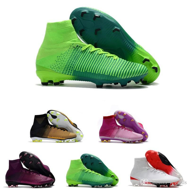 19b53d34993 2019 2018 Men Kids Women Mercurial Superfly CR7 V FG AG Football Boots  Cristiano Ronaldo High Tops Neymar JR ACC Soccer Shoes Soccer Cleats From  Regards