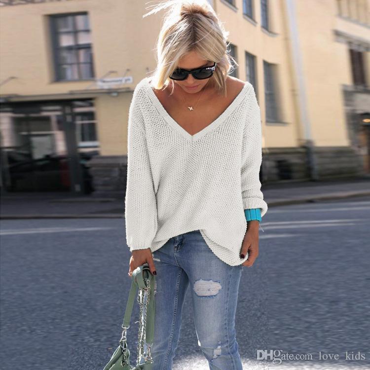 Nova moda casual decote em V profundo mangas compridas blusa camisola Top moletom 10 cores quentes mulheres moda casaco Outono Quente Outwear