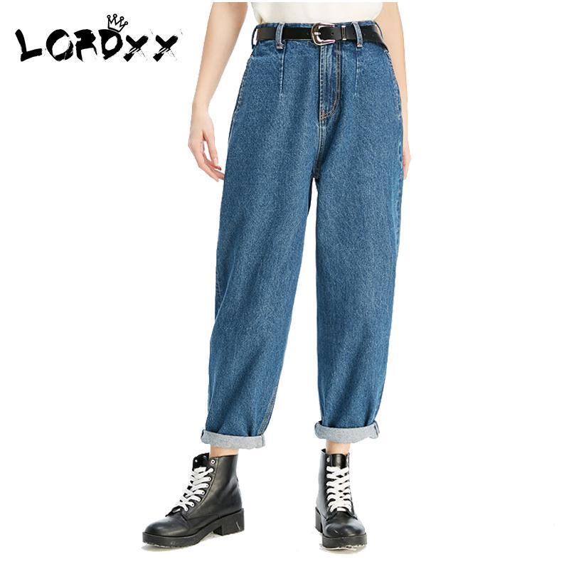 ea1d9c200ef02 LORDXX Blue Jean boyfriend pour femme 2018 Taille haute Loose denim 100  Cotton Mom Jeans Pockets Pantalon femme korean fashion