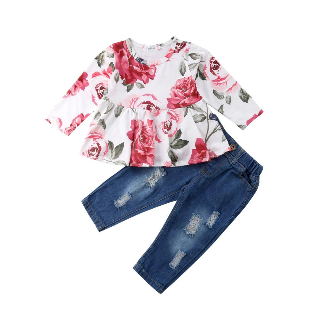 bf8b275659599 2019 Toddler Kids Baby Girl Outfits Rose Shirt T Shirt Tops+Long Pants  Jeans Clothes Set From Mobiletoys, $33.63 | DHgate.Com