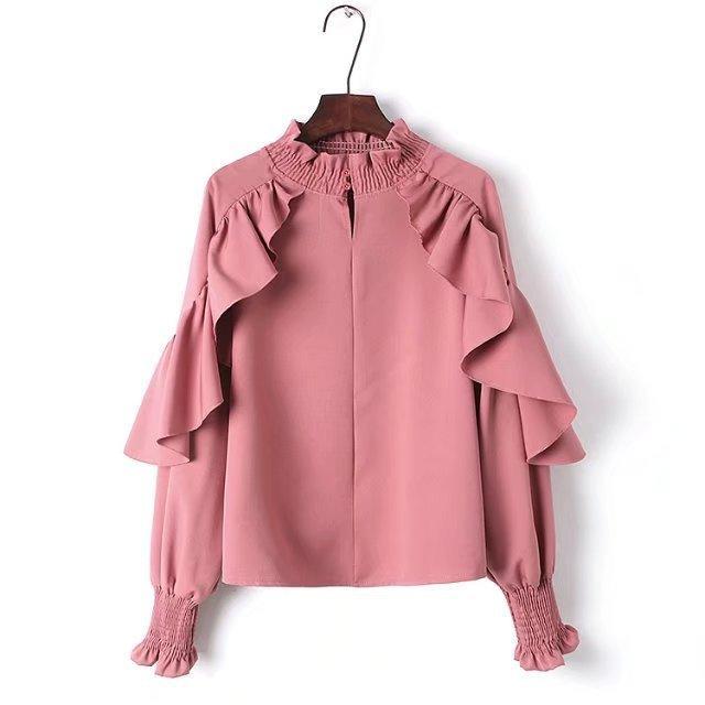 74a5f3dc07 Acquista 2018 Nuove Donne Primavera Carattere Increspature Arricciatura  Stand Colletto Camicetta Tinta Unita Rosa Bianco Nero Top Femminile Camicie  Da ...