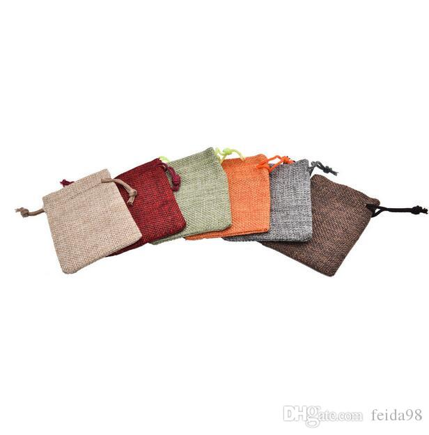 Mini Jute Pouch Linen Hessian Hemp Drawstring Small Gift Packaging Bag Wedding Ring Jewelry Packing Pouch GA23 Solid Color Linen Beam Pocket Gift Bags ...