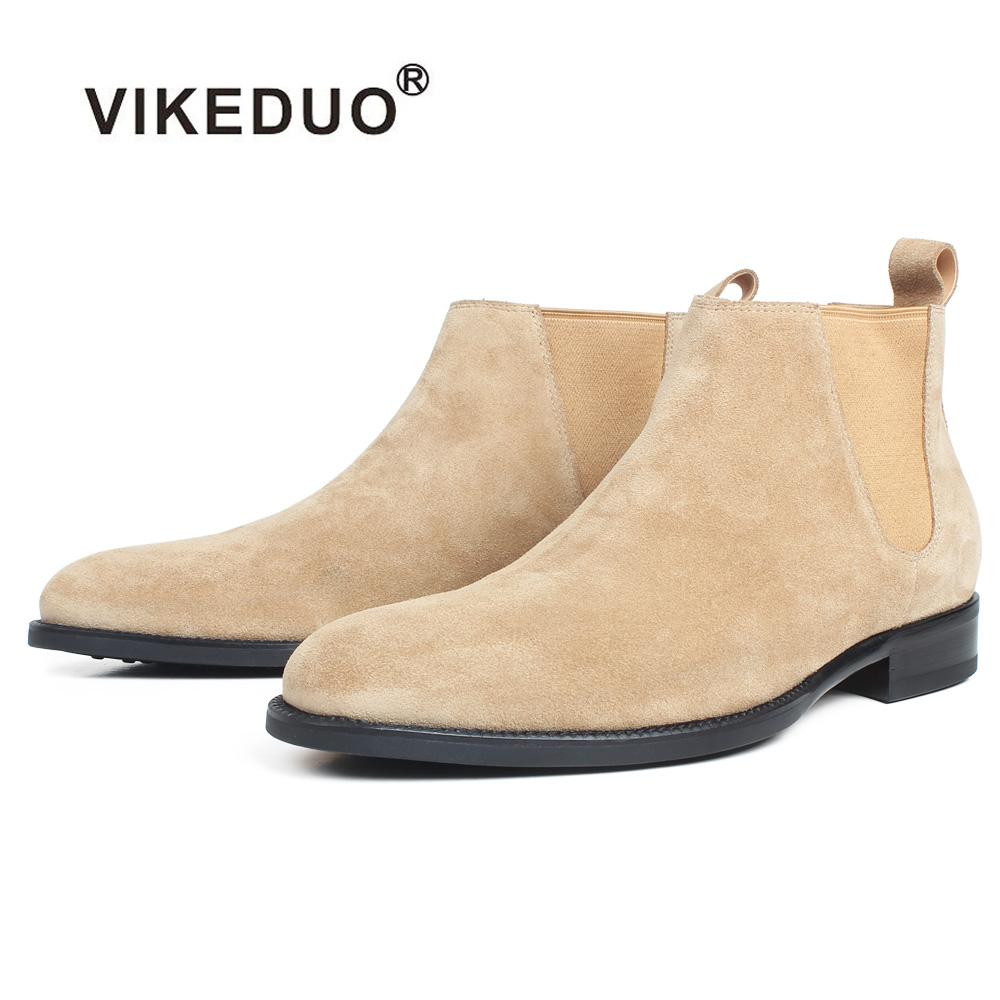 20695140f6f4 VIKEDUO Ankle Boots For Men Apricot Genuine Suede Skin Customized ...