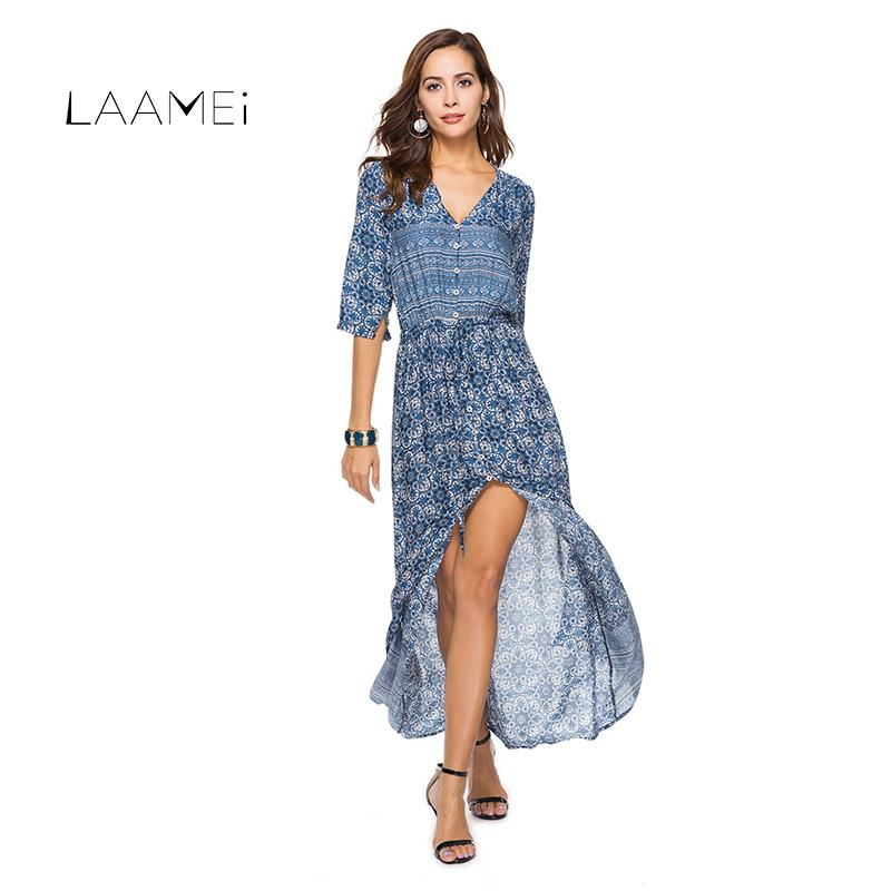 4da96cb23a0 2019 Laamei Boho Maxi Dress Long Summer Ethnic Beach Dresses Floral Printed  Multicolor Bohemian Split Clothing Robe Femme Vestidos From Finebeautyone