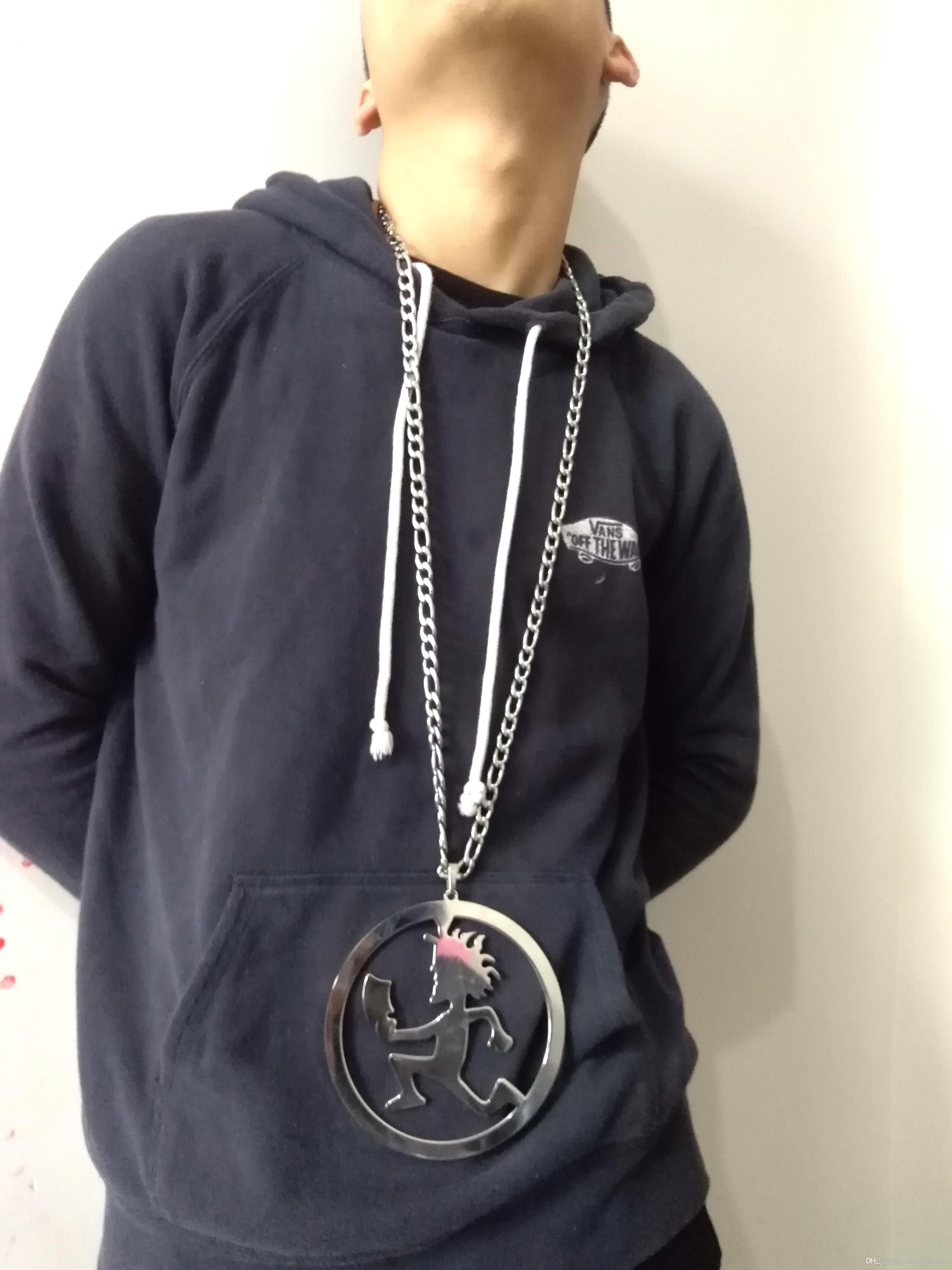 Super Large Stainless steel hatchetman in circle 5 inch ICP COOL charm BLAZE rydas TWIZTID abk PENDANT CHARMS Figaro CHAIN NECKLACE 9mm 32''